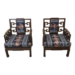 Rosewood Carved Greek Key Chairs - a Pair For Sale