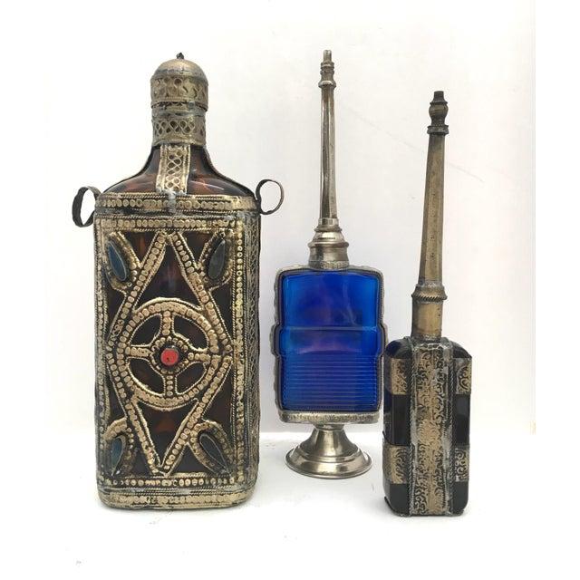 Blue Vintage Moorish Islamic Style Decorative Bottles - Set of 3 For Sale - Image 8 of 8