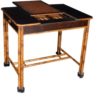 1990s Rustic Imbuya Veneered and Bamboo Games Table For Sale