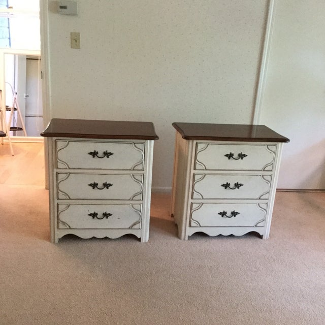 Drexel Heritage French Countryside Collection matching bedside chests. 3 drawers on each chest provide ample bedside...