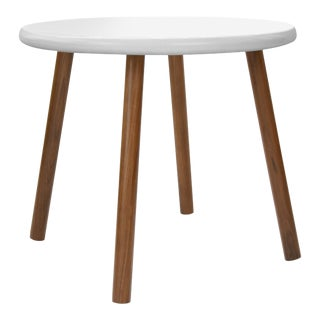 "Peewee Small Round 23.5"" Kids Table in Walnut With White Finish Accent For Sale"
