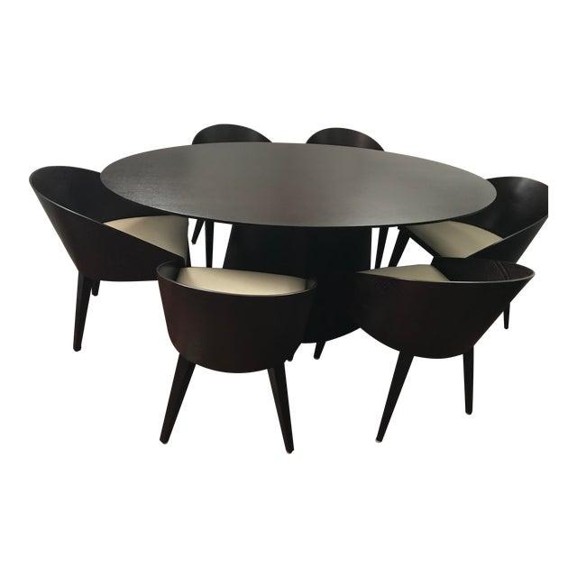 Contemporary Black Mahogany Oval Dining Set - Image 1 of 6