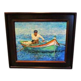 Original Oil Fine Art Painting Fisherman in His Panga Boat Framed Acrylic on Canvas 22 X 25 Signed
