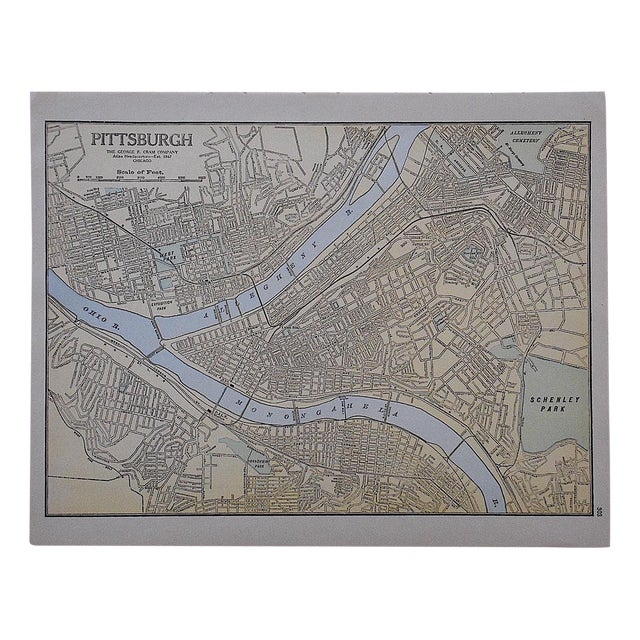 City Map Antique Lithograph - Pittsburgh - Image 1 of 3