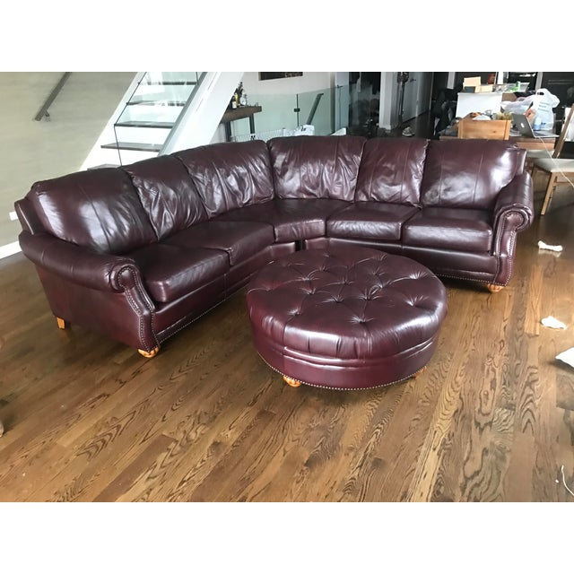 Italian Leather Sectional & Ottoman - Image 2 of 10