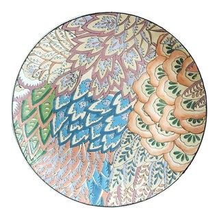 Vintage Decorative Plate / Hand Painted Glaze / Leaf Floral Decorative Plate For Sale