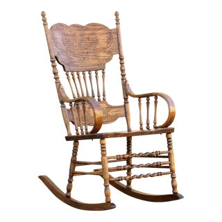 Vintage Oak Rocking Chair With Pressed Back Design For Sale