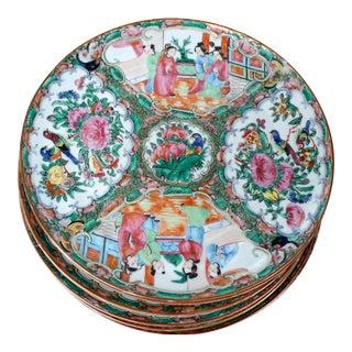 19th Century Chinoiserie Rose Medallion Dinner Plates - Set of 6 For Sale