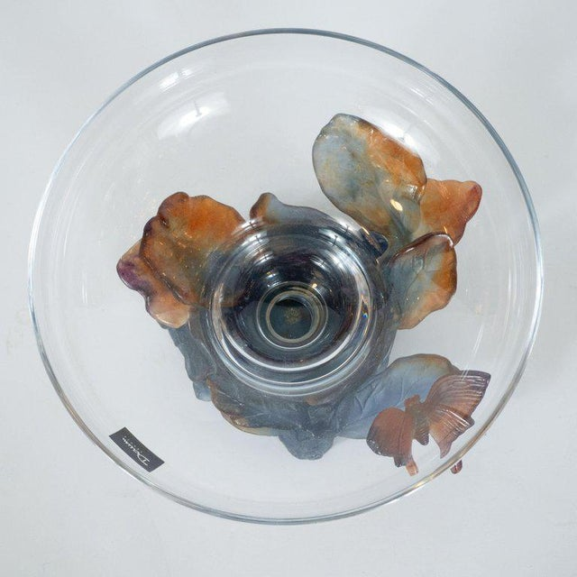 Crystal Art Deco Style Crystal and Pâte De Verre Papillon Coupe by Daum For Sale - Image 7 of 13