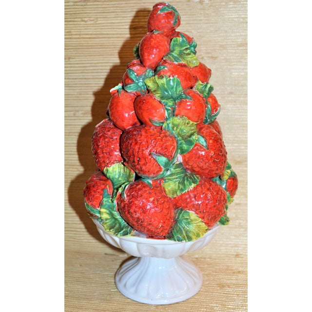 Mid-Century Italian Majolica Strawberry Topiary For Sale - Image 5 of 5