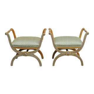 Italian Neoclassical X-Form Curule Benches - A Pair