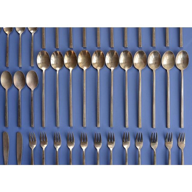 1960s Mid-Century Modern Danish Sigvard Bernadotte Bronze Scanline Flatware - 79 Piece Set For Sale - Image 5 of 13