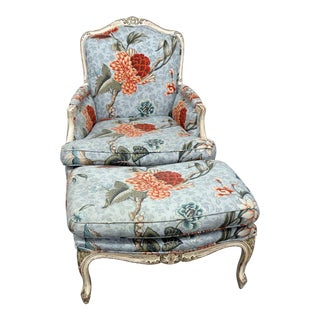 Louis XV Style Distressed Painted Bergere and Ottoman For Sale