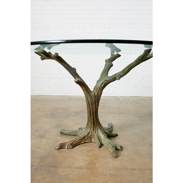 French Bronze Faux Bois Tree Sculpture Dining Table For Sale - Image 4 of 13
