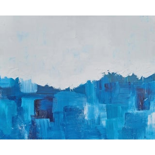 """""""Blueburst"""" Contemporary Abstract Blue and White Acrylic Painting For Sale"""