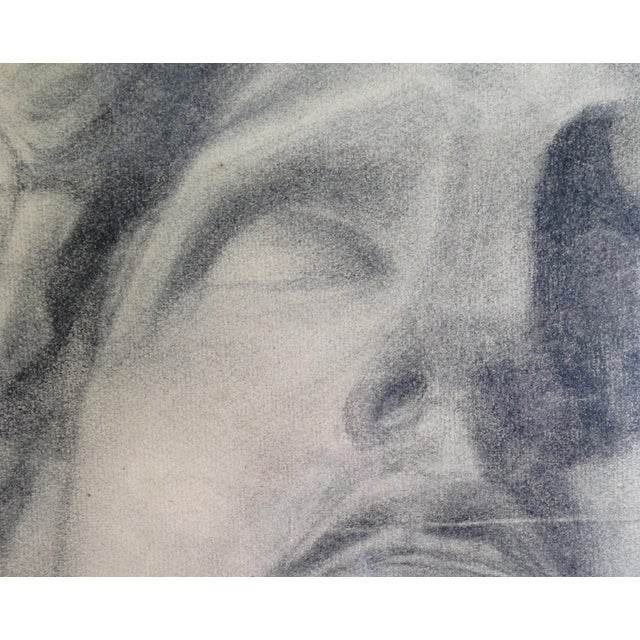 1910 Charcoal Drawing of a Stone Bust - Image 3 of 4
