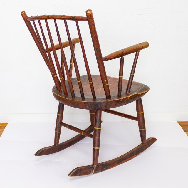 Grain Painted Spindle Back Rocking Chair | 19th Century Red Primitive Antique For Sale - Image 4 of 12
