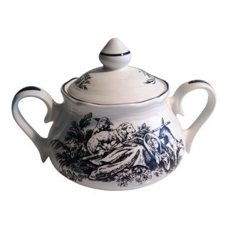 Tabletop Unlimited New England Toile Black Game Birds Lidded Sugar Bowl For Sale