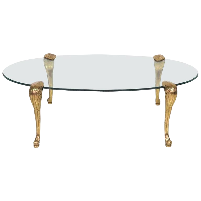 P.E. Guerin Style Brass And Glass Coffee Table For Sale