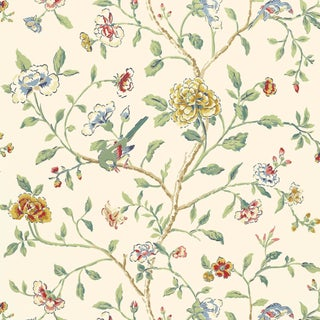 Schumacher Annabelle Vine Wallpaper in Primary For Sale