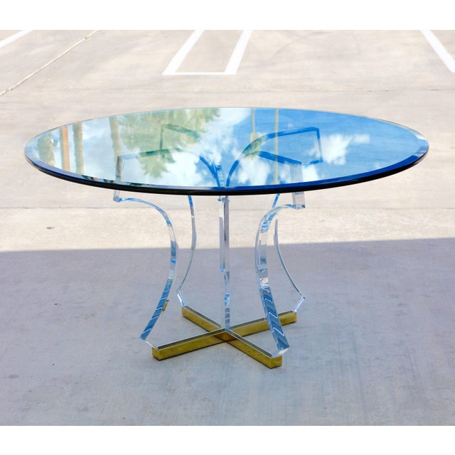 Lucite and Glass Dining Table With Brass Base For Sale - Image 10 of 10