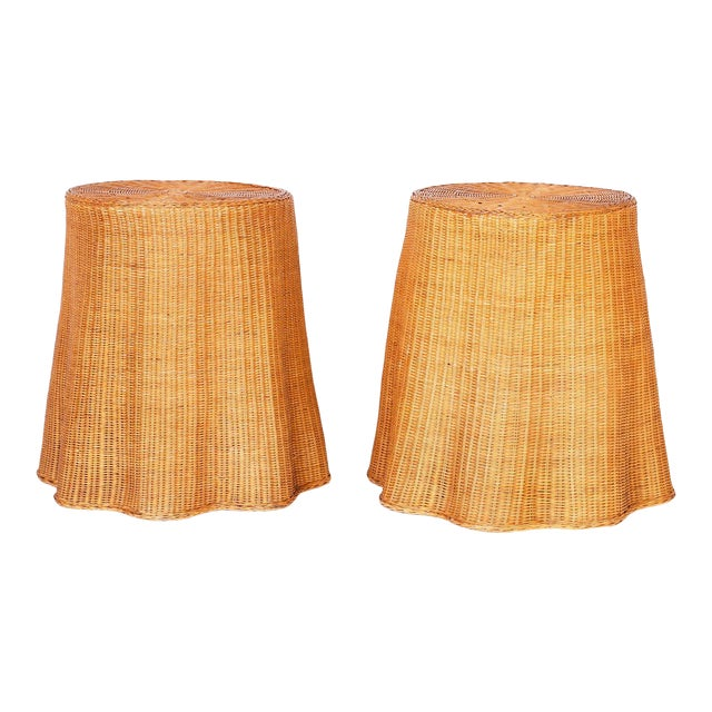 Midcentury Wicker Drape Tables or Stands - A Pair For Sale