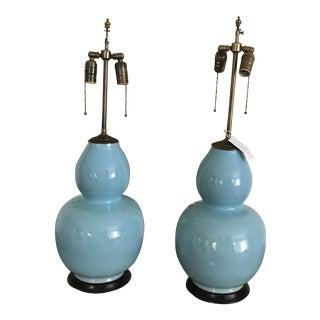 20th Century Contemporary Blue Spitzmiller Style Ceramic Gourd Lamps - a Pair