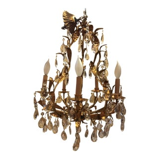 1940s Italian Gold Chandelier With Crystals For Sale