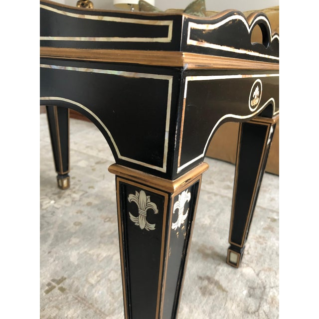 Gem of a Hollywood Regency Black Tray Coffee Table For Sale In Philadelphia - Image 6 of 13