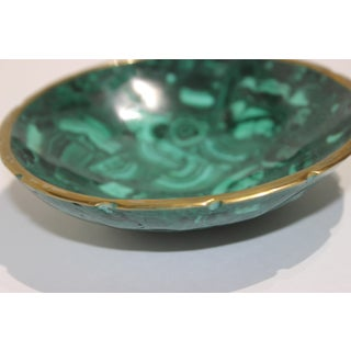 Vintage Malachite and Brass Scalloped Edge Round Dish Preview
