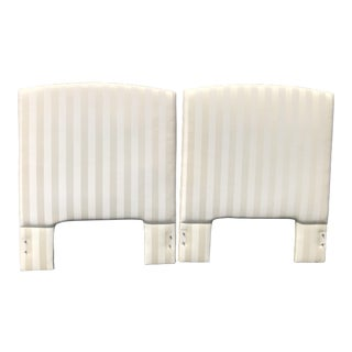 Custom Made Ivory Upholstered Twin Headboards - a Pair For Sale