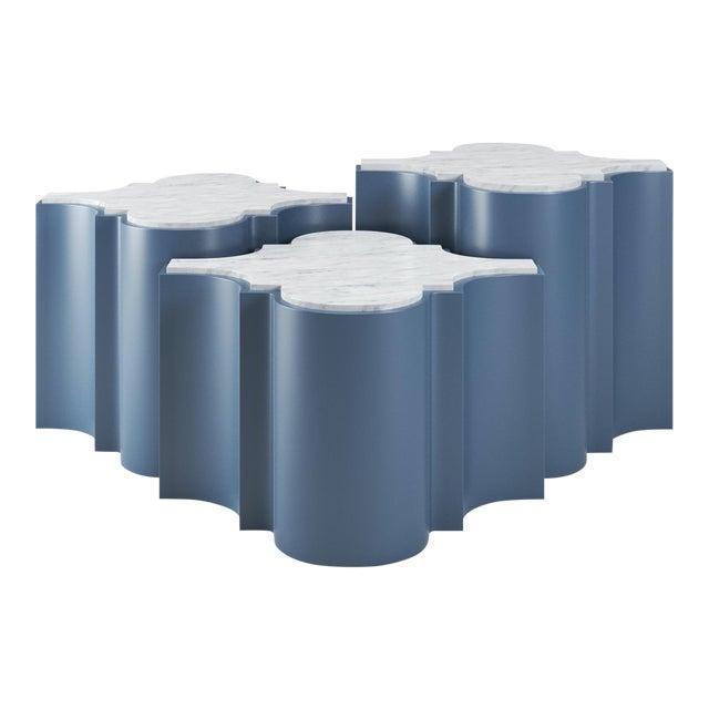 Sofia Nesting Tables, Set of 3 - Newburyport Blue For Sale