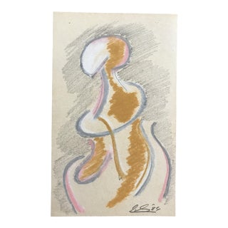 1984 Contemporary Pastel Figure Study Drawing For Sale