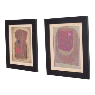 Jose Luis Serrano Mexico City 1980s Pair Abstract Art Paintings Mixed Media For Sale
