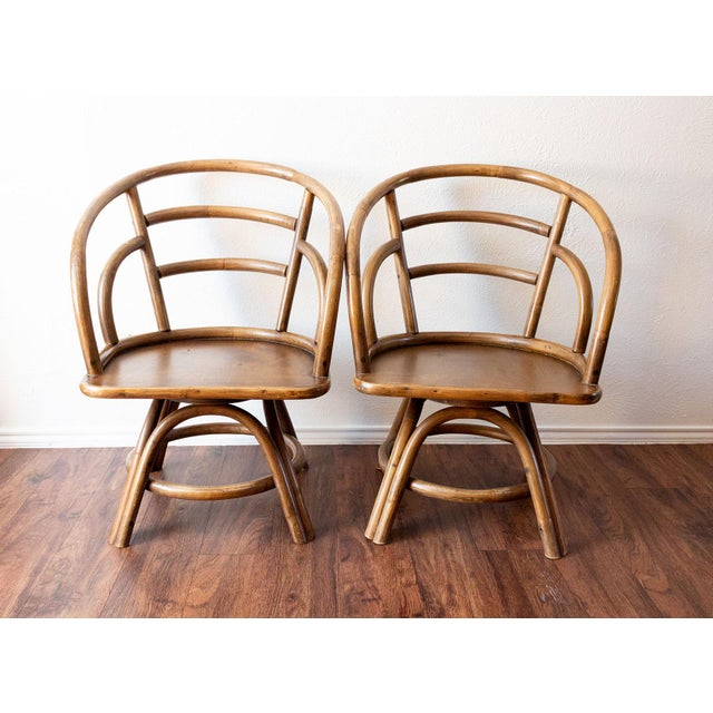 Boho Chic 1960s Boho Chic Brown Jordan Rattan Swivel Chairs - a Pair For Sale - Image 3 of 13