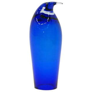 Blue Art Glass Penguin, Maybe Murano or Swedish, Free Fast Shipping For Sale