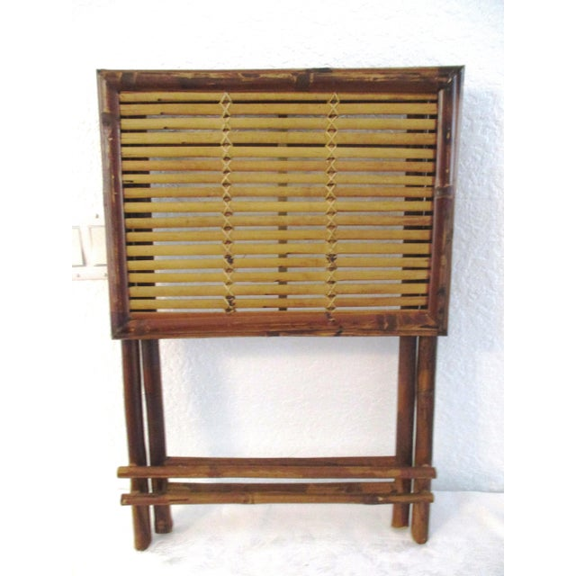 Cool 1970s all bamboo folding table. Solid, well constructed table. Folds away for easy storage. So many uses: side table,...