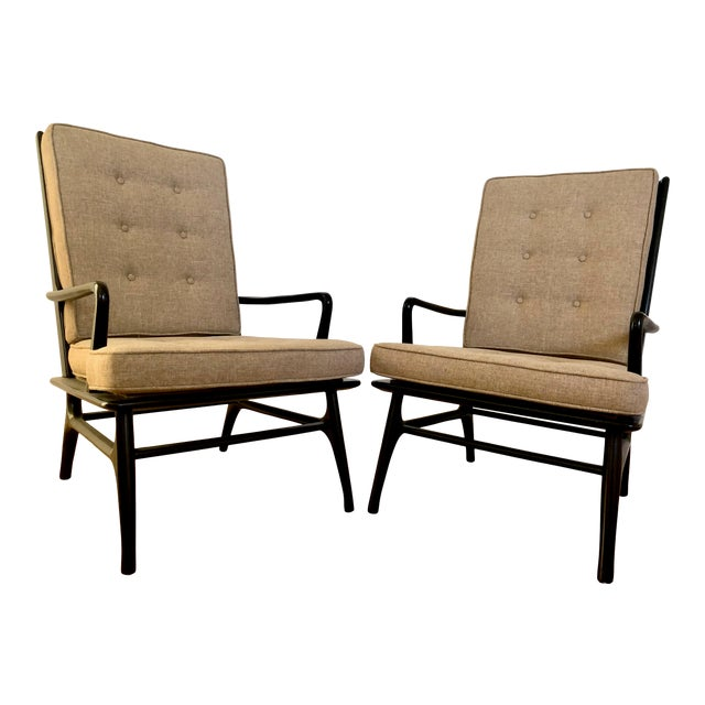 Mid Century Ebonized Chairs - a Pair For Sale