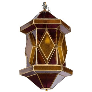 1960s Vintage Amethyst and Gold Glass Moroccan Lantern For Sale
