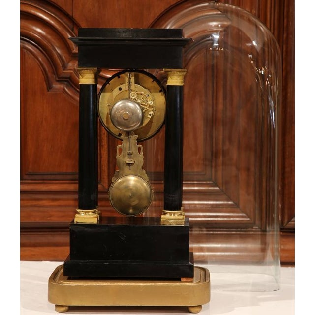 Brass 19th Century French 4-Columns Empire Mantel Clock with Original Glass Dome For Sale - Image 7 of 9