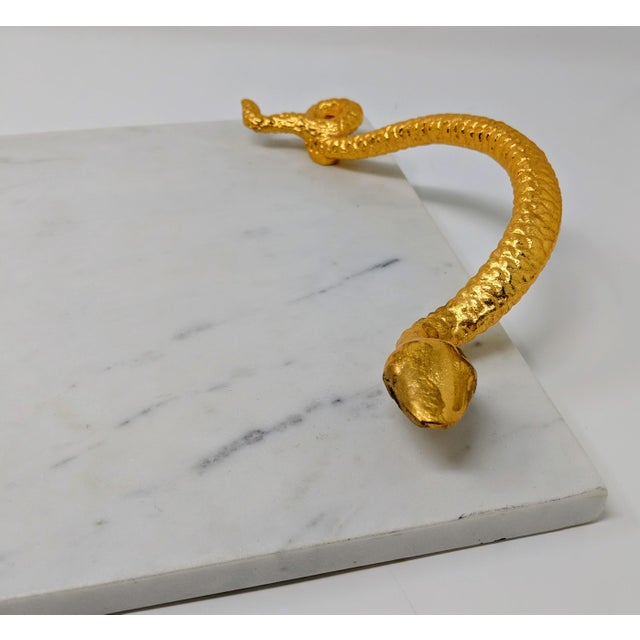 Hollywood Regency White Marble Tray With Gold Snake Handles For Sale - Image 3 of 10