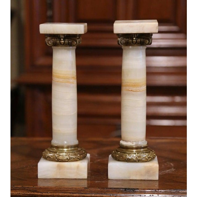 19th Century Napoleon III Carved Marble and Bronze Decorative Columns-a Pair For Sale - Image 4 of 7