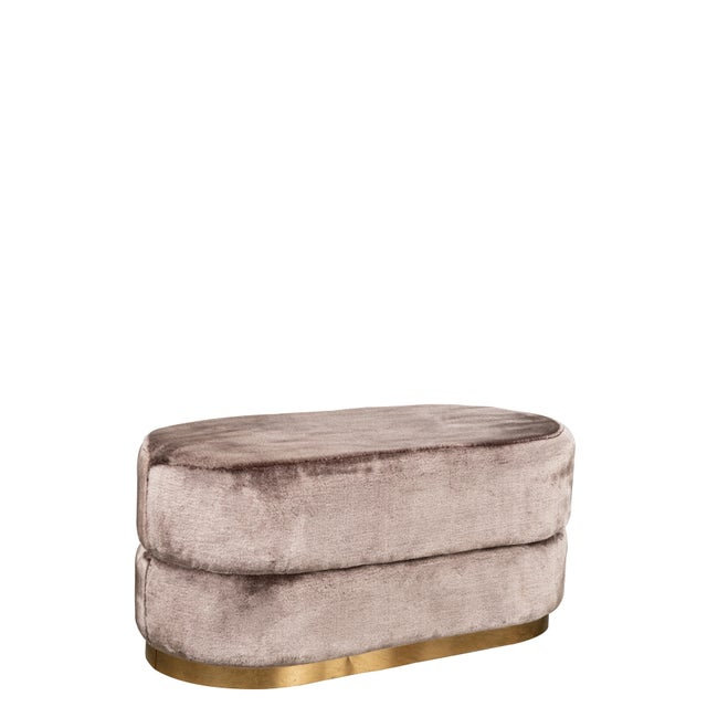 Peyton Oval Fur Ottoman in Mink For Sale - Image 4 of 4