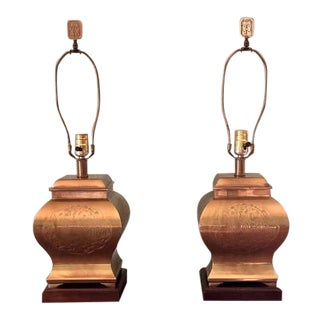 Frederick Cooper Asian Style Pagoda Etched Brass Table Lamps - a Pair For Sale