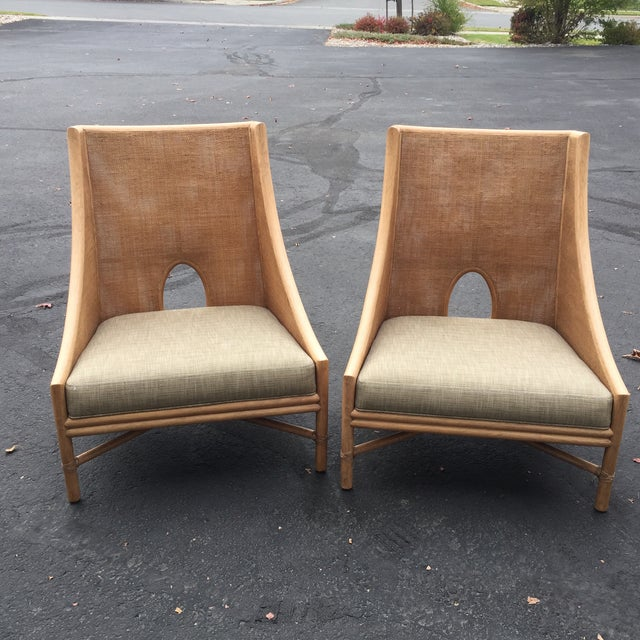Modern Barbara Barry For Mcguire Cane Rattan Lounge Chairs
