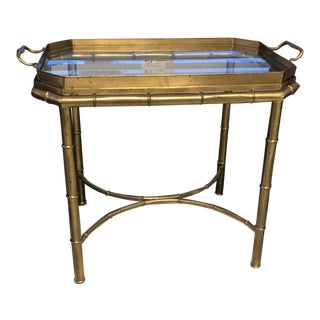 Mastercraft Hollywood Regency Brass Butler's Tray Table For Sale