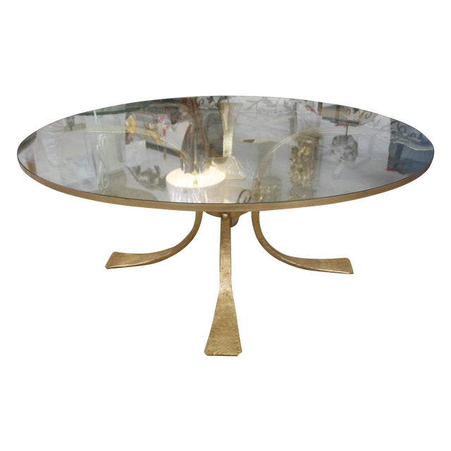 Gold Base & Glass Top Coffee Table For Sale