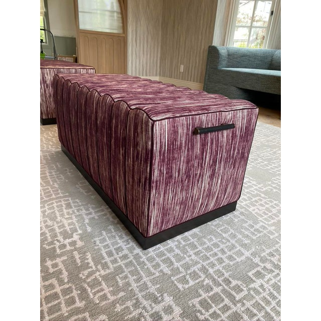 2020s Featured in the 2020 San Francisco Decorator Showcase — Custom Maroon Dining Bench, Pair Available For Sale - Image 5 of 9
