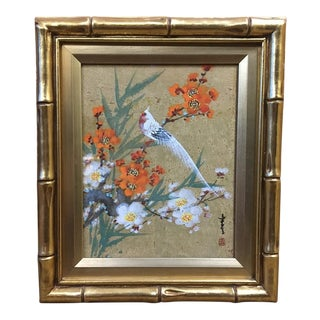 Original Artist Signed Asian Mixed Media Painting - Bird in a Floral Setting For Sale