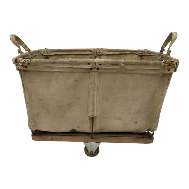 Vintage Industrial Canvas Laundry/Postal Cart For Sale